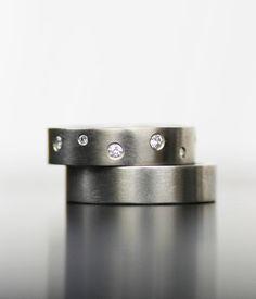 hiver étoiles blanc or et diamant mariage bande set - palladium, platine ou confort or jaune l'ajustement bandes - son et le sien - la sienn...