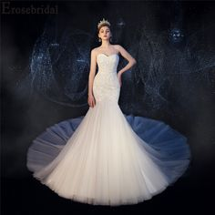 2019 Mermaid Wedding Dress Luxury Beaded Pearls Bridal Gown with Cathedral ( Train Lace Up Back for Adjusting Size Wedding Dresses Near Me, Wedding Dresses Plus Size, Wedding Dress Sleeves, Elegant Wedding Dress, Cheap Wedding Dress, Dresses With Sleeves, Mermaid Wedding, Wedding Events, Bridal Gowns