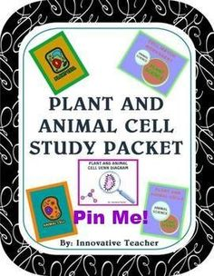 This Plant and Animal Cell Study Packet includes 5 of my plant and animal cell products. The products included are:  - Plant Cell Worksheet – labeling the parts of a plant cell - Animal Cell Worksheet – labeling the parts of an animal cell - Plant and Animal Cells –comparing both cells - Cell Venn Diagram – discovering the similarities and differences of both cells - Cell Match – matching the cell parts to its name