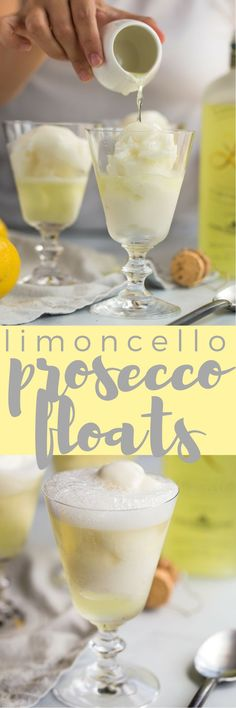 3-ingredient limoncello prosecco floats with lemon sorbetto are the perfect boozy dessert cocktail for summer! a scoop of lemon sorbetto gets simply drowned with a shot of limoncello & topped off with a generous splash of prosecco. light, refreshing, & ea
