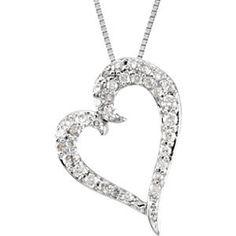 1/4 ct tw Diamond Heart Necklace, $704.16