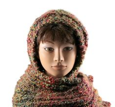 Chunky Knitted Hooded Scarf Womens Scoodie Scarf by TheGoldDaisy