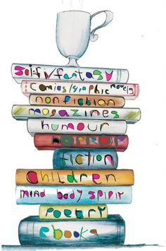 Stack of books from Fantasy to Nonfiction to Magazines to Poetry and more. FROM: CUPCAKE WORLD