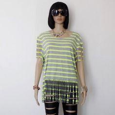 Originale t-shirt femme !! fringed !! en coton gris et jaune taille: l/ large belicious-delicious creation
