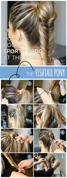 How To Rock a Sporty Updo At The Gym: The Fishtail Pony Fishtail braid ponytail – Farbige Haare Sporty Hairstyles, Workout Hairstyles, Quick Hairstyles, Braided Hairstyles, Hairstyle Braid, Fishtail Ponytail, Sporty Ponytail, Sport Hair, Braid Styles