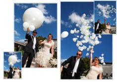 """""""boomclac"""" per riprendere un recente successo musicale e i palloncini volano al cielo come l'amore di questi giovani sposi"""