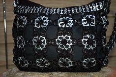 Upcycled Black Flower Crochet Pop Tab Purse