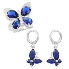 BLUE GLASS WHITE SIMULATED DIAMOND CRYSTAL BUTTERFLY RING AND EARRING SET #L2D