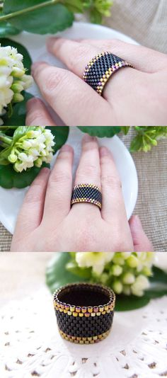 Black Beaded Ring with Gold Trimming by JeannieRichard