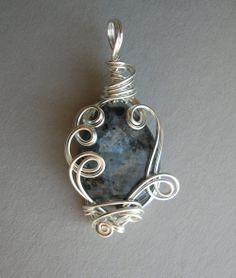 Grey/Black Larkivite Teardrop Sculpted Wire by silverowlcreations, $42.00