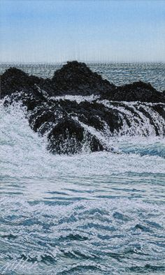 Trickling Over The Rocks Machine embroidery by Alison Holt