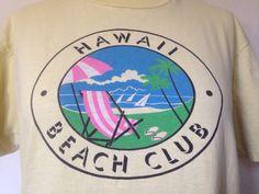 Hawaii Beach Club Vintage T-shirt, 1980s graphic tee, Hawaiian tshirt, 80s…