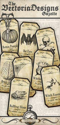 Small Halloween Apothecary Labels printable von VectoriaDesigns