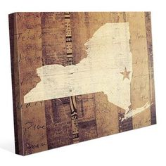 "Click Wall Art 'New York Rustic' Graphic Art on Wrapped Canvas Size: 20"" H x 30"" W x 1.5"" D"