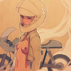 ~motorbike girl illustration by Viet Nguyen (Los Angeles artist and toymaker) Motorbike Girl, Motorcycle Art, Bike Art, Cafe Racer Style, Cafe Racer Girl, Cafe Racer Mexico, Art Moto, Logos Vintage, Chicks On Bikes