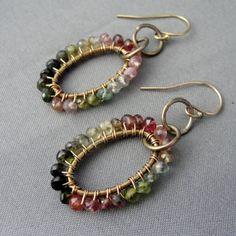 Items similar to Tourmaline Earrings, Gem Wrapped, Rainbow Oval Earrings Gold Fill on Etsy Beauty Tips, Beauty Hacks, Tourmaline Earrings, Stylish Plus, We Wear, Beaded Bracelets, Gems, Rainbow, Trending Outfits