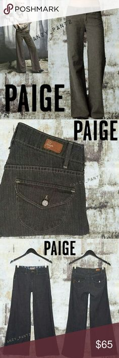 Paige Hillhurst wide leg flare tweed jeans 25 Paige Denim ~ Hillhurst ~ 'tweed' wash ~ trouser style,  wide leg, flare pants ~ mid rise ~ flap pocket ~ lightweight with stretch ~ excellent condition~   Measurements & other details in photo 7  ❌NO trades or holds ✔REASONABLE offers welcome                   or ❤hit 'add to bundle' to receive an exclusive, no obligation offer❤ PAIGE Jeans Flare & Wide Leg