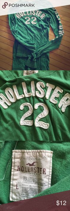 Hollister green women's size large top Green long sleeve size large women's Hollister top number 22 on front 60% cotton 40% polyester made in Cambodia. California Hollister Tops Tees - Long Sleeve