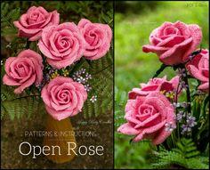 Crochet Rose Pattern by Happy Patty Crochet // Patterns and Instructions for a large crochet rose flower, ideal as a centerpiece for flower arrangement or wedding bouquets. #crochetflower #crochetrose #crochetpattern