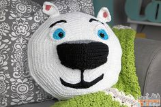 Norm of the North, #crochet, free pattern, pillow, stuffed toy, #haken, gratis patroon (Engels), ijsbeer, kussen, knuffel, #haakpatroon
