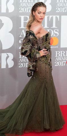 Count on Rita Ora to stun us with the wildest of pairings: camouflage and tulle.