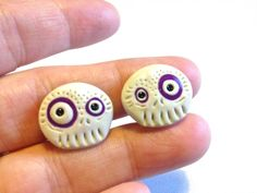 Purple Polymer Clay Sugar Skull Clip On Earrings by MadShinyShoppe, $10.00