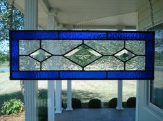 Stained Glass Panel Blue & Beveled Diamond Small Window Panel.