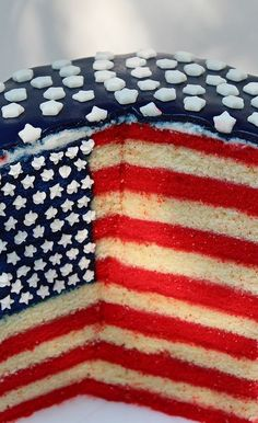 ♥ ~ ♥ Red White and Blue ♥ ~ ♥  American Flag Cake