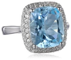 Sterling Silver 6.8cttw Blue Topaz and Created White Sapphire Ring - List price: $169.00 Price: $68.00