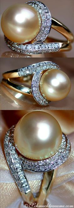 Fabulous Golden Southsea Pearl Diamond Ring, YG18K - Visit: schmucktraeume.com - Like: https://www.facebook.com/pages/Noble-Juwelen/150871984924926 - Mail: info@schmucktraeume.com