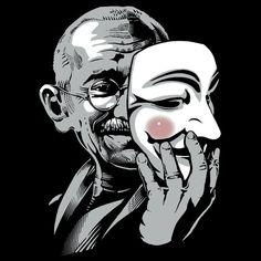 """DISOBEY - Gandhi Putting on Guy Fawkes Mask"" T-Shirts & Hoodies by jimiyo"