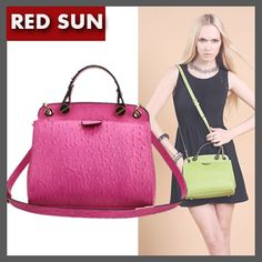 RED SUN New design small women genuine leather Ostrich pattern handbag,5 candy colors casual lady messenger bag,evening bag 1520 US $119.40