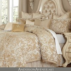 The Luxembourg bedding collection from Michael Amini will transform your master bedroom into a warm and luxurious retreat.  Available in king and queen sizes.