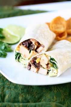 [SOUTHWESTERN CHICKEN WRAPS] :: wraps, olive oil, chicken, water, chili powder, cumin, lime juice, black beans, corn, spinach, green opnions, avocado, Monterey Jack cheese & Ranch dressing.