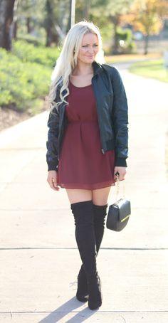 Moto jacket, shift dress + otk boots