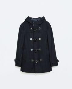 Image 7 of FAUX LEATHER DETAILS HOODED DUFFLE COAT from Zara