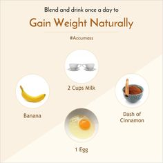 The mixture of Banana, Milk and Eggs is really good for maintaining a good Health. You must take the combination of these nutritious ingredients daily for a fit and fine body. Tips To Gain Weight, Weight Gain Workout, Weight Gain Journey, Gain Weight Fast, Weight Gain Meal Plan, Healthy Weight Gain, Gain Weight Smoothie, Food To Gain Muscle, Health And Nutrition