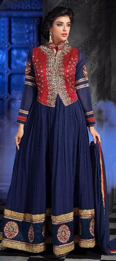 440217: Blue, Red and Maroon color family Anarkali Suits - 65