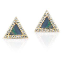 Anne Sisteron 14KT Yellow Gold Opal Diamond Triangle Stud Earrings ($595) ❤ liked on Polyvore featuring jewelry, earrings, gold diamond earrings, opal stud earrings, gold jewellery, yellow gold earrings and gold earrings