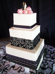 Pink, Black, & White Wedding Cake