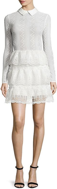 Self-Portrait Long-Sleeve Tiered Scalloped Lace Dress ($520) | 150+ Fashion Gifts to Add to Your Holiday Wish List Now | POPSUGAR Fashion