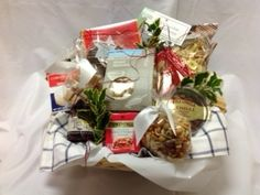 'Carols' Christmas Basket, Bottle of Wine, Frantic Eccle, Biscotti Biscuits, Chocolate Licorice, Shortbread, Fruit & Nut Clusters, Wafer Biscuits, Pretzels, Beer Nuts