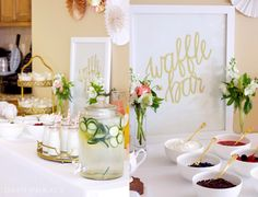Katie Newman's Baby Shower - some wonderful brunch ideas, including a how-to for a waffle bar!