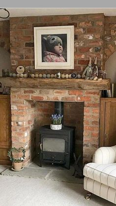 Log Home Decorating - Utterly sensational log suggestions. log home decor ideas diy pin example placed in category log home decor ideas diy, shared on For more fantabulous ideas press the link to look through the post example 6825500584 today Brick Fireplace Log Burner, Exposed Brick Fireplaces, Cottage Fireplace, Rustic Fireplaces, Fireplace Design, Brick Fireplace Decor, Fireplace Ideas, Log Burner Living Room, Living Room With Fireplace