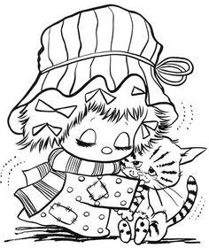 desenhos-colorir-menina-abraçando-gatinho
