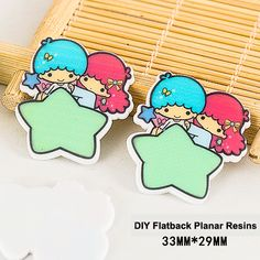 50pcs Kawaii Cartoon Little Twin Stars Flatback Resins DIY Crafts Planar Resin for Phone & Home Decoration Accessories DL-489