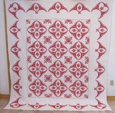 Vintage Redwork Cross Stitch Tulip Quilt Feathers Pennsylvania | eBay