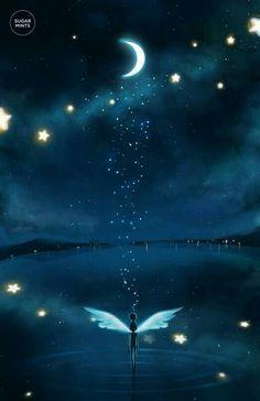 25 New ideas for fantasy art painting sky Art Anime, Anime Kunst, Fantasy Kunst, Anime Scenery, Galaxy Wallpaper, Moon Art, Night Skies, Cute Wallpapers, Color Splash