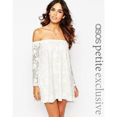 ASOS PETITE Premium Off Shoulder Gypsy Lace Dress ($87) ❤ liked on Polyvore featuring dresses, ivory, asos, lace dress, off shoulder lace dress, white dress and white off the shoulder dress