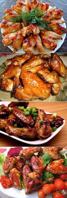 Chicken wings: 6 recipes for every taste. Meat Recipes, Chicken Recipes, Cooking Recipes, Russia Food, Queens Food, Good Food, Yummy Food, Russian Recipes, Easy Cooking